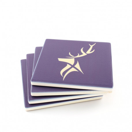 Silver Stag Blue Ceramic Coasters - 4 pack