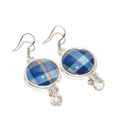 STAND Tartan Sterling Silver Hinged Earrings with Drop Bead