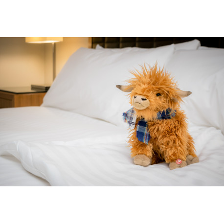 Hairy Coo 'Hector' with STAND Tartan Scarf