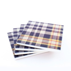 STAND Tartan Ceramic Coasters - 4 pack - off center